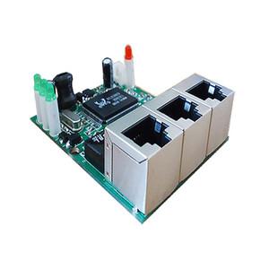 Freeshipping fabricante empresa venda direta chip Realtek RTL8306E mini 10/100 mbps rj45 lan hub 3 porta ethernet interruptor de placa pcb