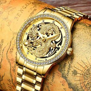 Наручные часы Fngeen Мужские часы бренда Diamond Dragon Date Date Luminous Золотая из нержавеющей стали Водонепроницаемые деловые Часы Кварцевые наручные часы
