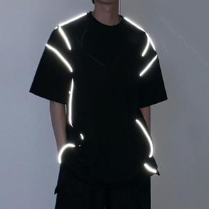 Summer 2020 New Personality Cotton Reflective T-shirt Men Tops Night Light Harajuku Fashion O-neck Short Sleeve Male T Shirt Tee