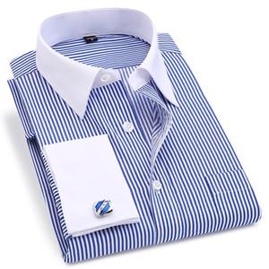 Französisch Cuff Männer Kleid Langarm-Shirt Hohe Qualität Regular Slim Fit Male Sozial Hochzeit Manschettenknöpfe Hemd plus Größe 5XL 6XL
