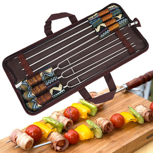 5PC Camping BBQ Skewer U-Shape Stainless Steel Barbecue Fork Roasting Skewers with Carry Bag for Grill, Outdoor Grill
