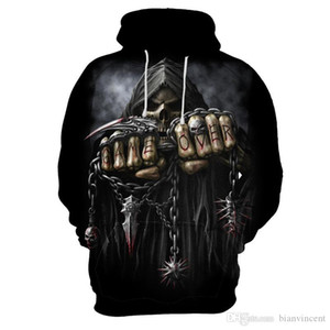 New 3D digital print hoodie for men in Europe and the United States large chain skeleton double fist difficult jacket