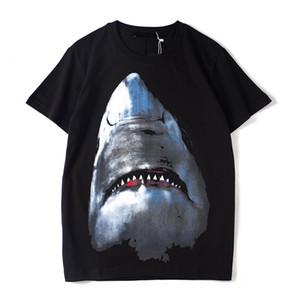 Herren T-Shirt Männer Frauen Hip Hop mit kurzen Ärmeln T-Shirts Sommer-Qualitäts-Haifisch-Druck-Schwarz-T-Shirts Mode-T-Shirt