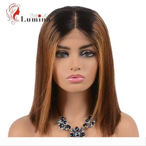 Ombre Human Hair 4x4 Lace Closure Wigs Dark Roots T1B 30 Ombre Bob Wigs Straight Hair Brazilian Virgin Pre Plucked