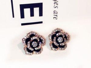 슈퍼 빛나는 새로운 패션 럭셔리 클래식 디자이너 우아한 아름다운 동백 다이아몬드 스터드 귀걸이 여자 여자