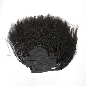 VMAE mongolische Kordelzug Pferdeschwanz Zauber Verpackungs-Schachtelhalm Natural Black 3A Curly Weave 120g Menschenhaar Keine sheddin Rohboden Elastic Band Tie