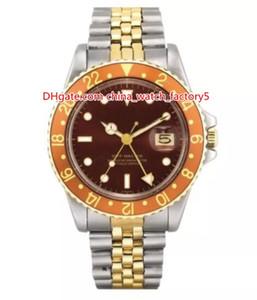 Orologio di alta qualità classico 40mm 1972 vintage GMT 1675 quadrante marrone capezzolo bicolore Asia 2813 movimento meccanico automatico orologi da uomo