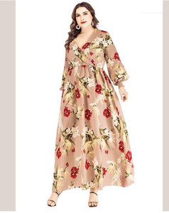 Lantern Sleeves Long Dresses Female Big Size Elegant Dress 5XL 6XL Plus Size Women Floral Dress Deep V neck