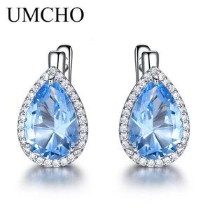 UMCHO Nano Blue Sky de piedras preciosas pendientes de clip 925 pendientes de plata para las mujeres forman joyería fina regalo de Año Nuevo Festival CJ191201