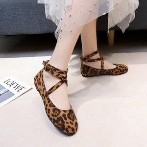 Magic2019 Code Will Dance Shoe Donna Fondo piatto Circle Head Shallow Mouth Singolo da donna Scarpe Crossing Bandage Leopard Print Scarpe casual