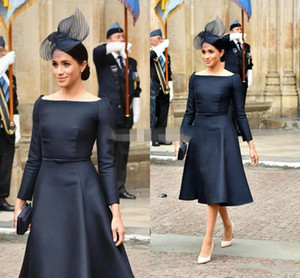 Meghan Markle Navy Short Prom Dresses Mother Of The Bride Dresses A Line Knee Length Long Sleeve Groom Mother Formal Party Gowns 2020