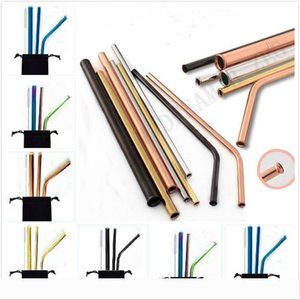 Designer 8.5 inch Scratch-Proof Straws Metal Reusable Drinking Straw Anti Scratch Straw For Home Party Barware Bar Ac