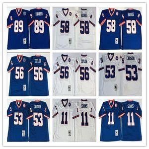 NCAA Mens Vintage Jersey 89 Mark Bavaro 11 Phil Simms 53 Harry Carson 58 Carl Banks Lawrence cucita pullover di football per gli uomini