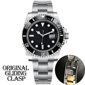 Reloj para hombre negro mecánica de cerámica bisel de acero inoxidable completa original delta broche de zafiro resistente al agua 5 ATM U1 U1 fábrica automática