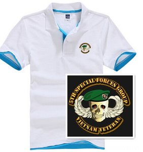 Short Sleeve Polo Shirt Men 5th Special Forces Group Skull Wings Beret printed Men's Tees & Polos Men's Clothing jerseys Summer Mens polo t