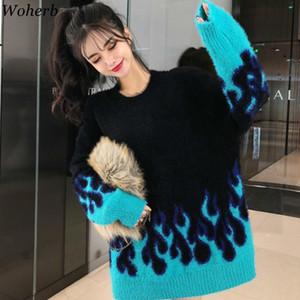 Woherb Tire patrón Femme O Cuello de manga larga del suéter de las mujeres de la vendimia floja llama azul con capucha Puentes Moda de Calle 91463