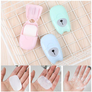 50Pcs / box Outdoor Travel Soap Paper Washing Hand Bath Clean Sistinct Sheets Extinction Box Suap Mini Paper gift