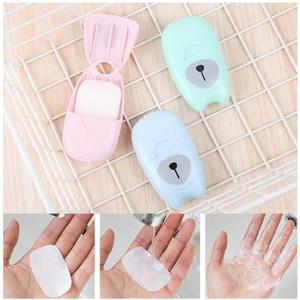50Pcs / box Outdoor Travel Soap Paper Washing Hand Bath Clean Sistinct Sheets Extinction Box Suap Mini Paper gift