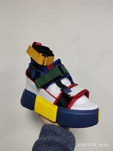 Swyivy azul sandalias de la plataforma de las mujeres de 2020 señoras de los calzados informales de la cuña de alta Chunky talón sandalias de los zapatos de verano top del alto tobillo de los zapatos 41 GMX190705