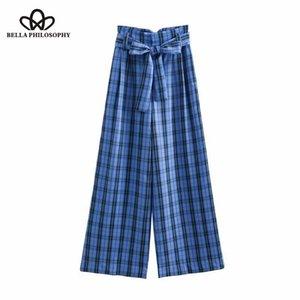 Bella Felsefesi sonbahar Bağbozumu ekose ilmek sashes geniş bacak pantolon moda yüksek bel cep uzun gevşek Pantolon iş Pantolon