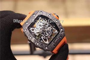 TOP RM35-02 Sport Black Watch forgiatura scheletro di carbonio Automatico Quadrante Crystal Orange zaffiro cinturino in gomma Swiss Watches Mens 5 colori