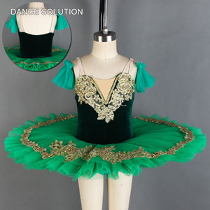 Dark Green Velvet corpete com Stiff Tulle saia Profissional Ballet Tutu Mulheres Garota Padrão Dancewear Pancake Costume BLL012