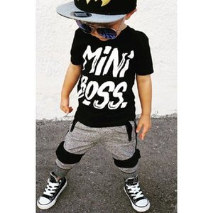 2 pezzi Toddler Boy Abbigliamento manica corta Mini Boss Print T Shirt Top e Pantaloni Set Bambini Baby Boy Outfit