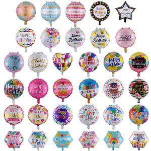 Los patrones al por mayor de 18 pulgadas hincha 50pcs / lot fiesta de cumpleaños de globos de cumpleaños Decoración feliz cumpleaños