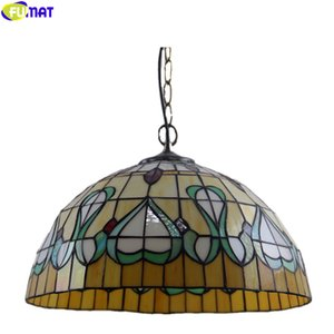 FUMAT style Tiffany Pendant Lamp Green Leaves oiseaux Heard Hanging Light Fixture Artesanat Art Home Décor unique chef droplight