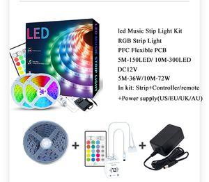 5M LED 10M tiras 5050 RGB tira música ligeira DJ luz DC12V Tuya aplicativo inteligente controlador WiFi decoração Home