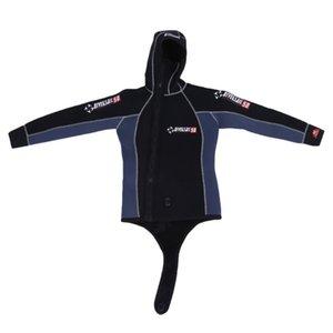 DIVESAIL 2-teilig 5MM Neopren Scuba Tuch Doppel Männer Warm Wetsuit mit Kapuze Reißverschluss Professionelle Split Spear Neoprengamaschen