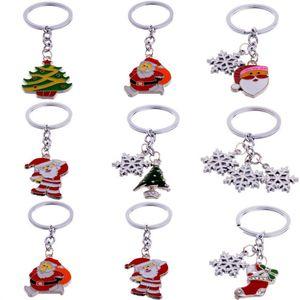 Llavero de metal Anillos Llavero Llaveros de moda para coches Árbol de Papá Noel Muñeco de nieve Copo de nieve Llavero Gotas Colgante Adornos de regalo de Navidad