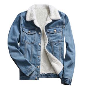 uomini Autunno Inverno Denim Jacket Upset epoca lungo manicotto allentato Jeans Coat più spessa giacca di jeans larghi