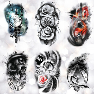 orologio Cheap Temporary Tattoos Famiglia Rosa Tempo Teschio Temporary Tattoo Sticker Scorpion Torre impermeabile tatuaggi Body Art braccio falso Tatoo Men