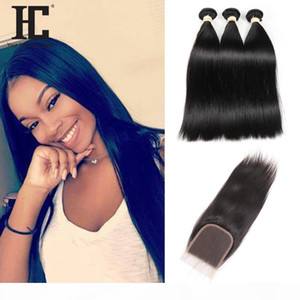 2017 Hot Selling Straight Human Hair Bundles with Lace Closure 3 pcs Brazilian Virgin Hair with Closure Wet And Wavy Human Hair Extensions