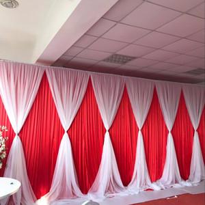 3m * 6m Ice Silk Fundo do casamento com Camada Volie Valance duplo luxuoso do casamento Drape Customzied Cor