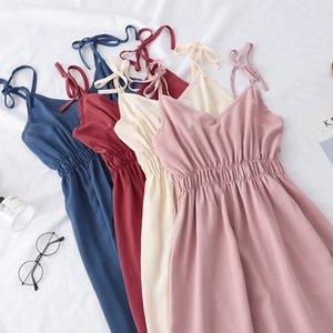 Heliar 2020 Yaz Vintage Nazik Stil v yaka elbise Uzun Yüksek belli Tatil Kayışı Elbise Özellikleri