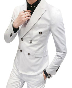 Mens Suits Slim Fit Grey/White/Champagne Two Pieces Suit Business Groom Jacket Tuxedos for Wedding Prom Evening(Blazer+Pants)