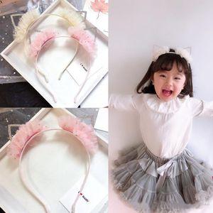 Niños palillos pelo muchachas del boutique de los rhinestones del pelo del oído de gato del partido cosplay accesorios niños lentejuelas falbala de encaje princesa hairbands