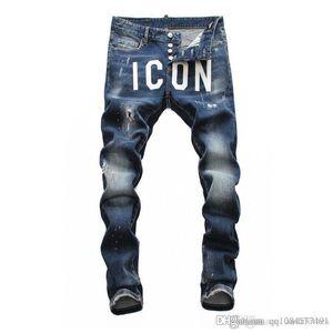 2019 il progettista del mens jeans firmati lungo strappati giovani mens Individualità dei jeans di alta qualità dei jeans di tendenza di esplosione di modo comodo magre