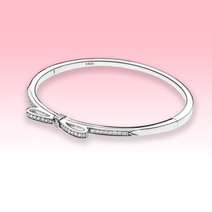 Women CZ diamond Bow Bangle Bracelets High quality Jewelry for Pandora 925 Sterling Silver Wedding Engagement Bracelet with Original box