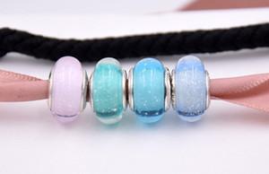 Nuovo 925 Sterling Silver Bead Charm Princess Firma Colore Murano Murano Glass Beads Fit Pandora Bracelet Bangle Gioielli fai da te
