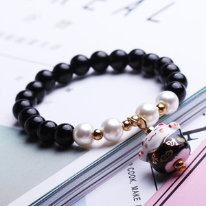2019 New Fashion Natural Bead Bracelet Creative Lucky Cat Bracciale con perline in ceramica per donna Charms Bead Bracelets Natale Migliori regali M492A