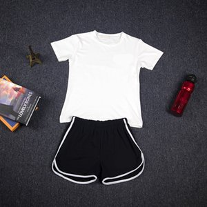 Women's Simple All-match Sport Suit Solid Color Loose Slim Short Sleeve Cotton T-Shorts Sports Casual Two-piece Suit Female