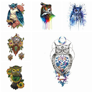 Owl Temporary Tattoo 3D Wassertransfer Tier Tattoo Aufkleber Arm Bein Fashion Style Body Art Abnehmbare wasserdichte Tattoo Art Aufkleber HHA310