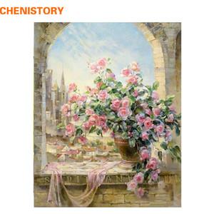 CHENISTORY fenêtre fleur bricolage Peinture par numéros Kit coloriage peinture par numéro unique cadeau pour le salon Home Decor 40x50cm