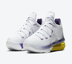 Novas LeBrons 17 Shoes Low EP Lakers Início Melhor XVII Homens James White Roxo Amarelo basquete com Box Tamanho 7-12