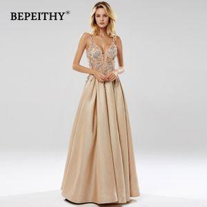 BEPEITHY Glitter Шампанское длинное вечернее платье партии Элегантный Кружева лиф Sexy Открыть Назад Пром Платье De Festa 2019