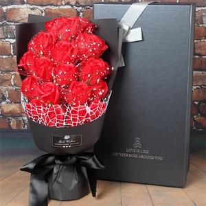 cumpleaños regalo del día de fiesta de la boda Jabón flores artificiales de Rose cajas de regalo hecho a mano conjuntos de baño Rosa Flor de San Valentín de los favores 21pcs Decoraciones