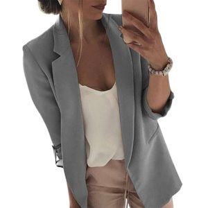 Dropship Women Casual Suit Coats Business Blazers 2020 Fashion Long Sleeve Jacket Outwear Ladies Black Pink Slim Blazer Coat